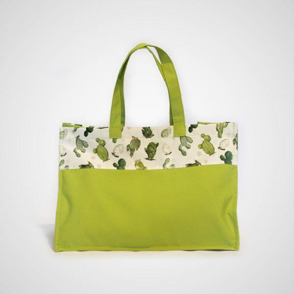Bolsa playa verde y dibujos de cactus